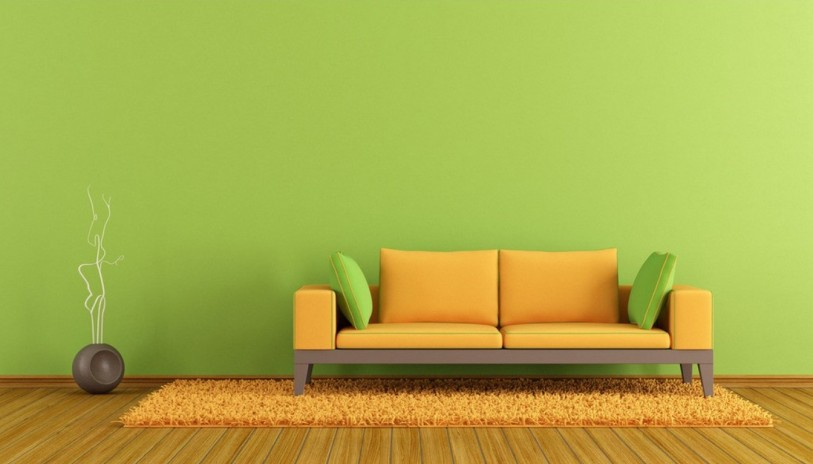 Pure-green-wall-with-minimalist-sofa
